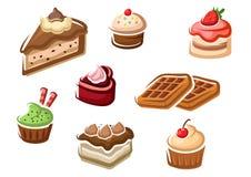 Cupcakes, κέικ, επιδόρπιο και βάφλες Στοκ εικόνες με δικαίωμα ελεύθερης χρήσης