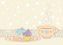 Cupcakes και τσάι απεικόνιση αποθεμάτων