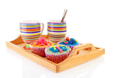 cupcakes και φλιτζάνι του καφέ Στοκ εικόνα με δικαίωμα ελεύθερης χρήσης