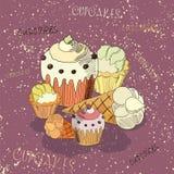 Cupcakes με τη σκιά Στοκ Εικόνες
