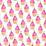 cupcakes πρότυπο άνευ ραφής Χαριτωμένο υπόβαθρο στο watercolor Γλυκιά τυπωμένη ύλη μόδας Διακόσμηση πρόσκλησης γενεθλίων Στοκ εικόνες με δικαίωμα ελεύθερης χρήσης