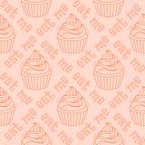 cupcakes πρότυπο άνευ ραφής Στοκ Φωτογραφία