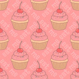 cupcakes πρότυπο άνευ ραφής Στοκ Φωτογραφίες