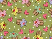 cupcakes πρότυπο αγάπης ι άνευ ραφή& Στοκ Εικόνα