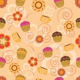 cupcakes πρότυπο λουλουδιών άν&epsilo Στοκ φωτογραφία με δικαίωμα ελεύθερης χρήσης
