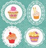 Cupcakes στις δαντέλλες Στοκ εικόνες με δικαίωμα ελεύθερης χρήσης