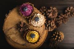 Cupcakes στο ξύλο στοκ εικόνα