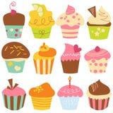 cupcakes χαριτωμένο σύνολο Στοκ φωτογραφία με δικαίωμα ελεύθερης χρήσης