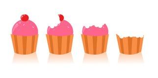 cupcakes χαριτωμένο σύνολο Στοκ Φωτογραφία