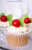 Cupcakes. Christmas themed cupcakes decorated with red gumballs and green jelly candy royalty free stock photography