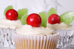 Cupcakes. Holiday themed cupcakes in red and green royalty free stock photo