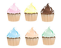 Cupcakes. An illustration of frosted cupcakes in various colours isolated on white Stock Image