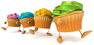Cupcakes. Fun Cupcakes, 3d generated picture Stock Photo