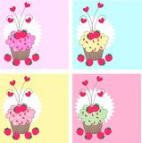 Cupcakes. Four different cupcake pattern in nice colours Stock Image