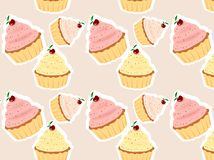 Cupcakes. Abstract seamless background with different colour cupcakes with cherries on the top Stock Photography