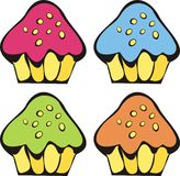 Cupcakes. Four cupcake with colored glaze Stock Photo