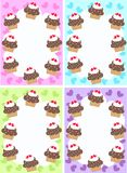 Cupcakes. Cupcake cards in four different colour combinations Stock Images
