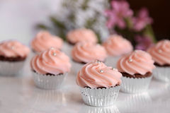 Cupcakes. Chocolate cupcakes in silver lining with flowers in background Stock Image