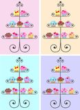 Cupcakes. Cupcake plates with four different background colours Stock Images