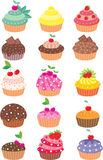 Cupcakes. Vector illustration, color full, no gradient Royalty Free Stock Photos
