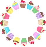 Cupcakes. Illustration of a frame of colourful delicious cupcakes Stock Photos
