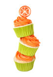 Cupcakes. Vanilla cupcakes stacked in a whimsical way Royalty Free Stock Photo