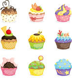Cupcakes. A vector illustration of different cupcakes designs Royalty Free Stock Image