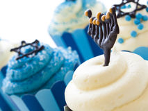 Cupcakes. Gourmet cupcakes decorated with white and blue icing for Hanukkah