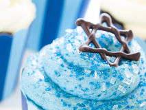 Cupcakes. Gourmet cupcakes decorated with white and blue icing for Hanukkah Stock Photos