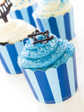 Cupcakes. Gourmet cupcakes decorated with white and blue icing for Hanukkah Royalty Free Stock Photos