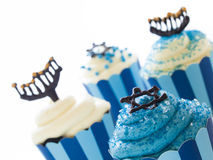 Cupcakes. Gourmet cupcakes decorated with white and blue icing for Hanukkah Stock Images