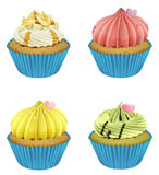 Cupcakes. Illustration of isolated cupcakes on a white background Royalty Free Stock Photo