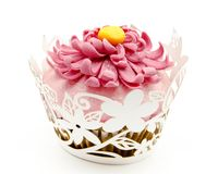 Cupcakes. Decorated with fondant and sugar flowers Stock Image