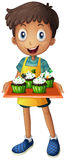Ένα νέο αγόρι που κρατά έναν δίσκο με τα cupcakes Στοκ Φωτογραφία