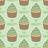 cupcakes πρότυπο άνευ ραφής Στοκ Εικόνα
