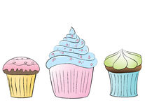 Cupcakes. Handdrawn cupcakes in pastel colors Royalty Free Stock Photo