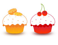 Cupcakes. Cute  cupcakes with beautiful oranges and cherries toppings Stock Photo