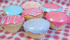 Cupcakes. Cup cakes/Muffins suitable for a birthday card or celebration card.pink and blue icing Stock Photos