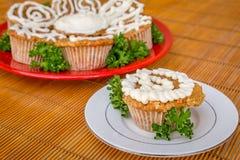 Παγωμένο κέικ καρότων τυριών κρέμας cupcakes Στοκ φωτογραφίες με δικαίωμα ελεύθερης χρήσης