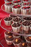 Cupcakes. Beautiful chocolate cupcakes on a 3-tier dessert tray Royalty Free Stock Photos