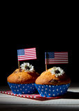 Cupcakes with american flag. Cute cupcakes with american flag Royalty Free Stock Photos