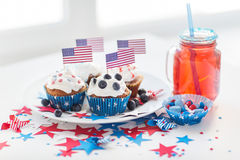 Cupcakes with american flags on independence day Stock Photos
