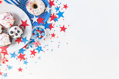 Cupcakes with american flags on independence day Stock Photo