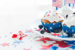 Cupcakes with american flags on independence day Royalty Free Stock Photo
