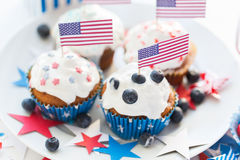 Cupcakes with american flags on independence day Stock Photography