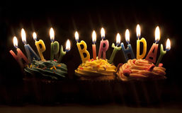 Free Cupcakes And Candles Royalty Free Stock Photography - 11691917
