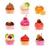 Cupcakes Assortment Set. Bright realistic cupcakes with various fillings assortment set  on white background vector illustration Royalty Free Stock Photos