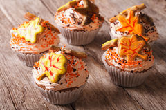 Cupcakes with autumn leaves close up on the table. Horizontal. Cupcakes with autumn leaves close-up on a wooden table. Horizontal Stock Image