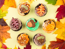 Cupcakes with Autumn Leaves Stock Image