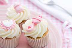 Cupcakes for a baby shower royalty free stock image